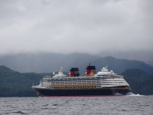 The Disney Wonder passed nearby.